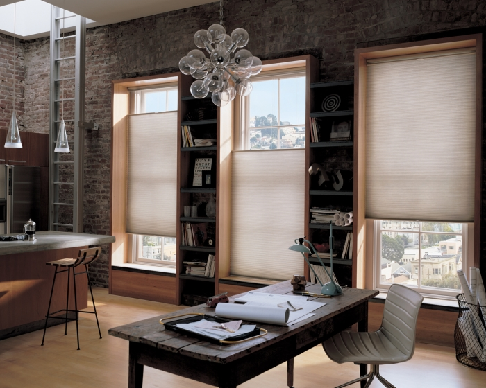 duette honeycomb shades in a loft apartment