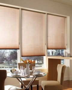 Pleated shades in dining room
