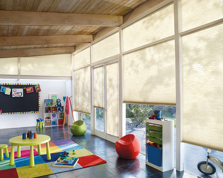 applause honeycomb shades in a kids room