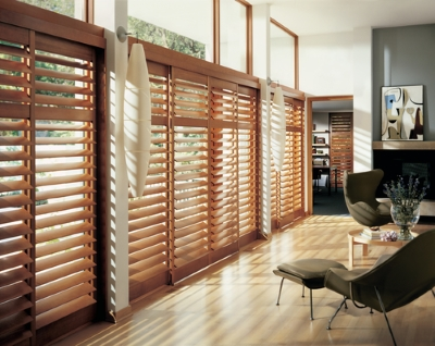 dark wood plantation shutters in a living room