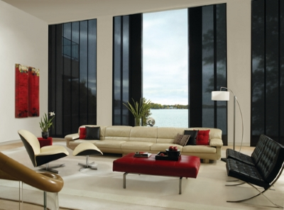 black skyline vertical blinds in a living room