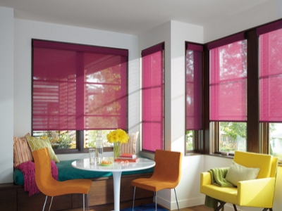 living room roller shades in fuscia – Rod Ladmans Window Designs