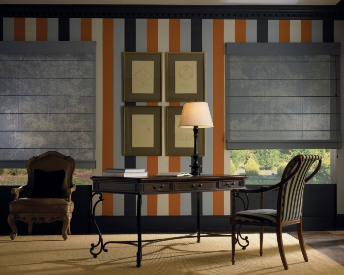 roman shades are an elegant choice for these windows