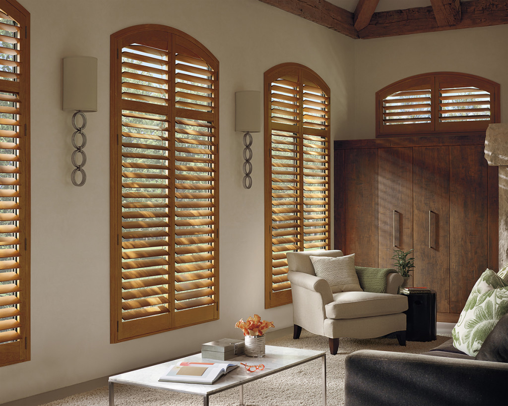 Interior shutters in a living room