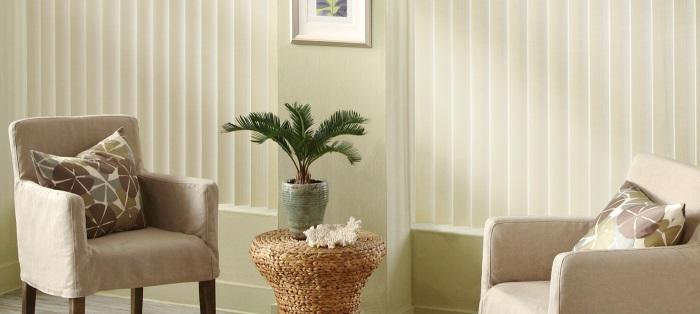hunter douglas vertical blinds in a living room