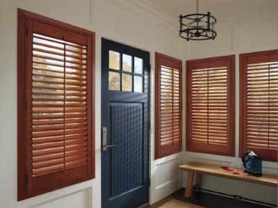 interior wood shutters for an entryway