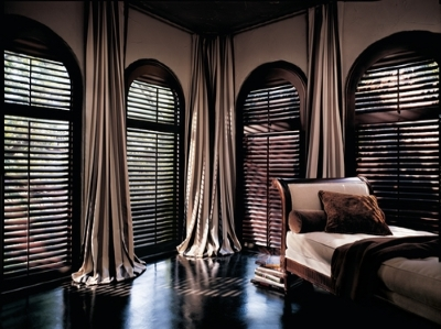 dark heritance shutters in a den