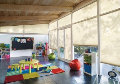 sun shades in a playroom