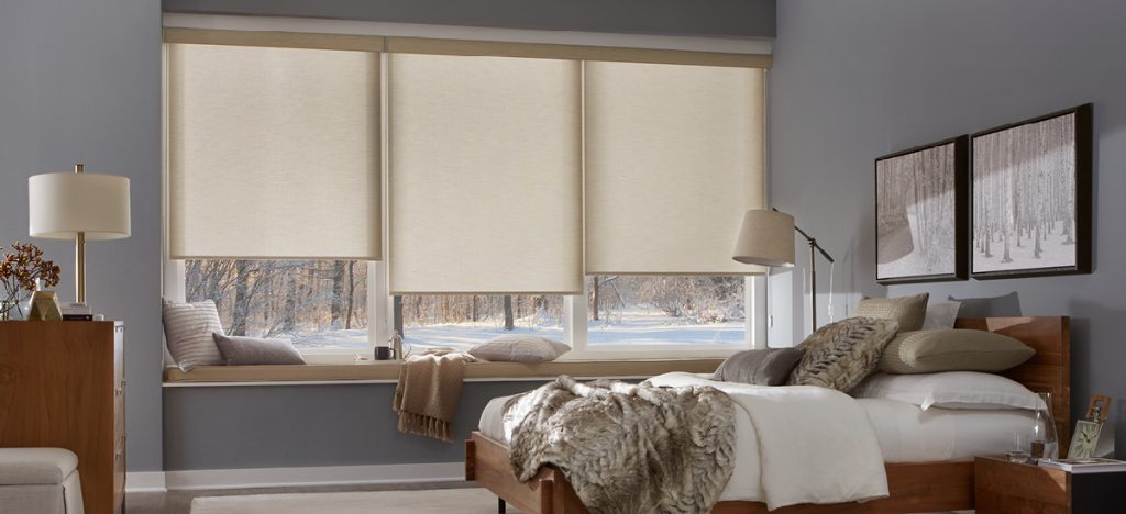 alta roller shades in a beautiful bedroom
