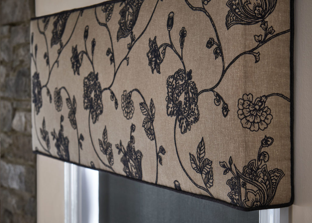 close up of a Graber Drapery top