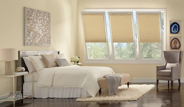 Hunter Douglas Duettes in a bedroom